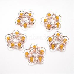 Light Gold Orange Flower Iron+Other Material Pendants(IFIN-K024-B01)