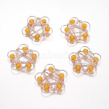 Light Gold Plated Iron Filigree Pendants Pendants, Flower, with Acrylic Beads, Orange, 45x48x8mm, Hole: 5mm(IFIN-K024-B01)