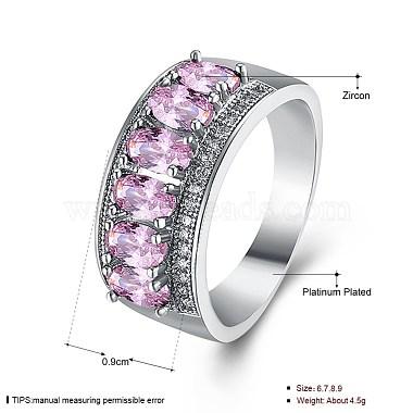 Pink Brass+Cubic Zirconia Finger Rings
