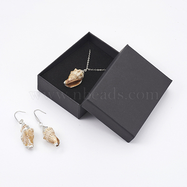 Electroplate Spiral Shell Pendant Necklaces and Dangle Earrings Jewelry Sets(SJEW-JS01007-03)-2