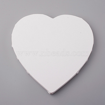 Heart Shape Blank Canvas, Linen Coverd Wood Primed Framed, for Painting Drawing, White, 20x20x1.6cm(DIY-WH0161-17)
