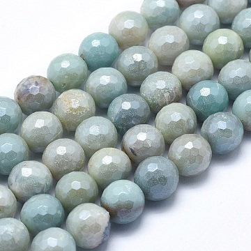 Natural Amazonite Beads Strands, Round, Faceted, 8mm, Hole: 1mm; about 48~49pcs/strand, 15.1~15.5inches(38.5~39.5cm)(X-G-O164-02-8mm)