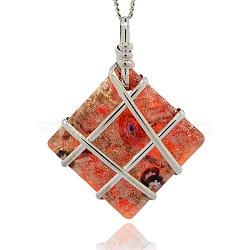 Main en verre de feuille grands pendentifs, sable d'or et millefiori, avec les accessoires en laiton de tonalité de platine, collier losange grands pendentifs, orange rouge , 63x50x14mm, Trou: 6x8mm(PALLOY-J355-06A)