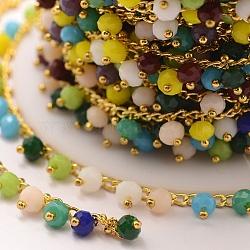 Chaînes de perles en verre manuels, soudé, avec les accessoires en laiton, colorées, 7x4mm(X-AJEW-P061-A03)