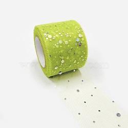 Filet à paillettes, Tissu à carreaux en tulle pour la fabrication de jupe, greenyellow, 2'' (5 cm); environ 25 mètres / rouleau (22.86 m / rouleau)(OCOR-P010-A-C30)