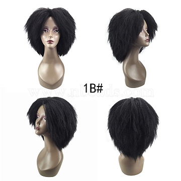 Explosive Head Wig, African Wig Female Short Hair Fluffy, High Temperature Heat Resistant Fiber Wigs, Short & Curly, Black, 15.7inches(40cm)(OHAR-G008-01)