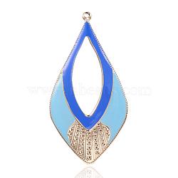 Pendentifs d'émail en fer plaqué or clair,  grands pendentifs déposés, bleu, 81x41x2mm, Trou: 2mm(IFIN-J066-05KCG)