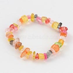 Natural Mixed Stone Beaded Stretch Kids Bracelets, 43mm(BJEW-JB02064-01)