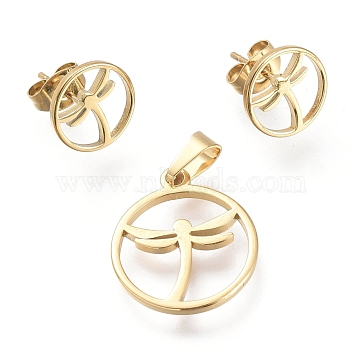304 Stainless Steel Jewelry Sets, Pendants and Stud Earrings, with Ear Nuts, Ring with Dragonfly, Golden, 19x16x1.5mm, Hole: 5.3x3.3mm; 10.5mm, Pin: 0.7mm(SJEW-K154-18G)