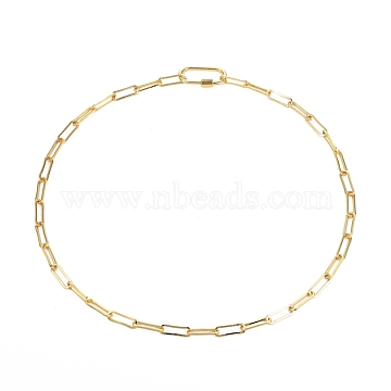 Brass Paperclip Chain Necklaces, with Oval Screw Carabiner Lock Charms, Golden, 19.25 inches(48.9cm)(NJEW-JN02902)