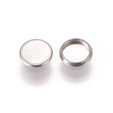 304 Stainless Steel Plain Edge Bezel Cups, Cabochon Settings, Flat Round, Stainless Steel Color, Tray: 6mm, 7.5x1.5mm(X-STAS-E460-10P-6mm)