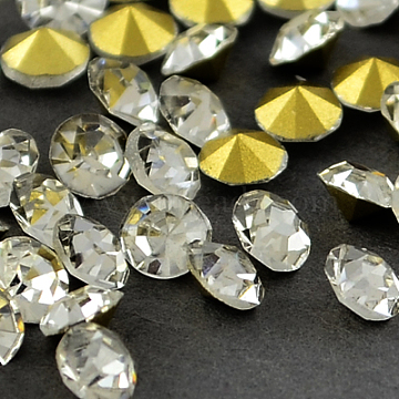 Glass Pointed Back Rhinestone, Back Plated, Diamond, Crystal, 1.9~2.0mm; about 144pcs/gross(RGLA-PP13-01B)