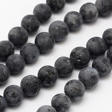Natural Larvikite/Black Labradorite Beads Strands, Frosted, Round, 6mm, Hole: 0.8mm, about 60pcs/strand, 14.1 inches(X-G-D692-6mm)