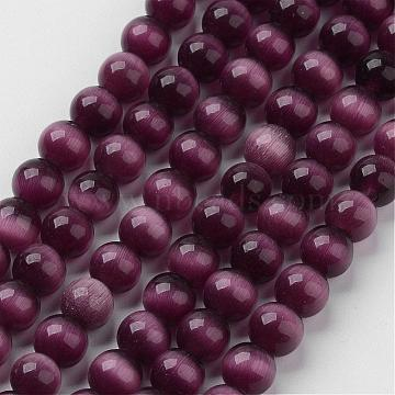Cat Eye Beads, Round, Indigo, 8mm, Hole: 1mm; about 15.5 inches/strand, about 49pcs/strand(CER8mm02)