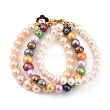 Natural Cultured Freshwater Pearl Beaded Bracelets Sets, with Flower Brass Toggle Clasps, Golden, Mixed Color, 7-5/8~7-7/8 inches((19.5~20cm); 3pcs/set(BJEW-JB05434)