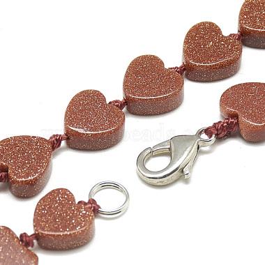 Synthetic Goldstone Beaded Necklaces(NJEW-S403-08)-2