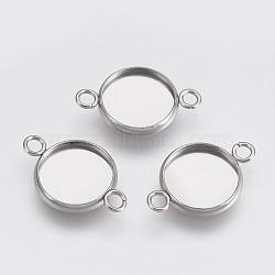 202 настройки разъема кабошона из нержавеющей стали, чашки безель с краем, с 304 петлями из нержавеющей стали, плоские круглые, нержавеющая сталь цвет, лоток: 12 мм; 21.5x14x2 мм, отверстия: 2 mm(X-STAS-I088-K-04P)