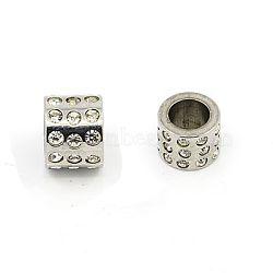 Lisses 304 perles de strass en acier inoxydable, Grade a, colonne, cristal, 10x8mm, Trou: 6.5mm(RB-E403-1)
