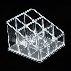 Boîte de présentation de stockage esthétique en matière plastique, présentoir, organisateur de maquillage, clair, 9x9x6.5 cm(ODIS-S013-21)