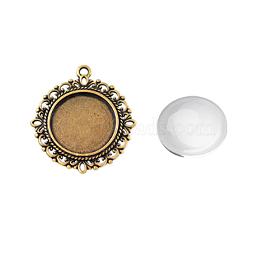 Pendant Making Sets, with Alloy Pendant Cabochon Settings and Glass Cabochons, Flat Round, Lead Free & Nickel Free, Red Copper, Tray: 20mm, 35x32x2mm, Hole: 2mm, 19.5~20x5.5mm(DIY-X0288-64R-FF)