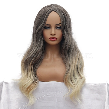Balayage Ombre Long Wavy Wigs for Women, Synthetic Wigs, Heat Resistant High Temperature Fiber, Gray, 30 inches(76.2cm)(OHAR-E015-01)