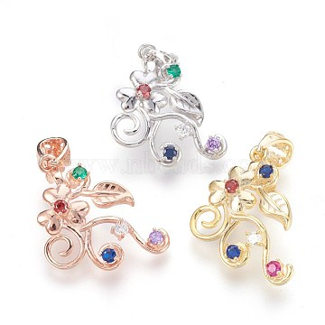 925 Sterling Silver Pendant Bails, with Random Mixed Color Cubic Zirconia, Flower, Mixed Color, 26x21mm, Hole: 4x5mm; Pin: 0.6mm(STER-E061-81)
