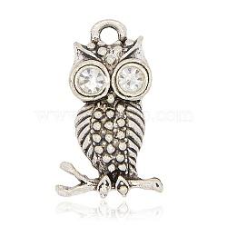 Anciennes pendentifs alliage d'argent strass de hibou pour des bijoux de halloween, cristal, 26x12x5mm, Trou: 3mm(ALRI-J058-01AS)