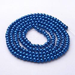 perles en verre perles brins, pearlized, arrondir, steelblue, 4 mm, trou: 0.8~1 mm, environ 216 pcs / brin, 32(X-HY-4D-B72)