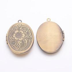 Pendentifs de médaillon en laiton, breloques de cadre de photo pour le collier, bronze antique, ovale, environ 24 mm de large, Longueur 34mm, Trou: 2mm(X-ECF133-2AB)
