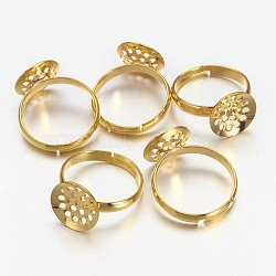 Composants d'anneau en laiton, des bases annulaires perforés, réglable, sans nickel, or, 17 mm; plateau: 12 mm(KK-G121-G-NF)