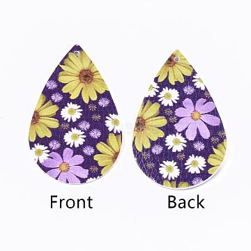 PU Leather Big Pendants, teardrop, with Flower Pattern, Purple, 55x35x2mm, Hole: 2mm(X-FIND-T058-B03)
