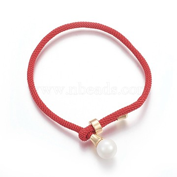 Cotton Cord Bracelets, Red String Bracelets, with Shell Pearl Beads and Brass Finding, Long-Lasting Plated, Real 24K Gold Plated, Red, 9 inches(23cm)(BJEW-F360-D01)