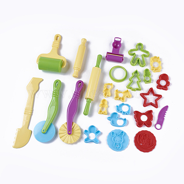 Mixed Plastic Plasticine Tools, Clay Dough Cutters, Moulds, Modelling Tools, Modeling Clay Toys For Children, Random Single Color or Random Mixed Color, 24pcs/set(AJEW-L072-13)