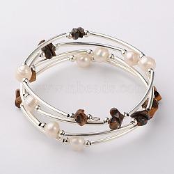 Bracelets enroulés avec puces de pierre gemme, l'argent et le platine, oeil de tigre, 53mm(BJEW-JB01518-03)