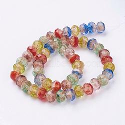 Perles vernissées de sable d'or manuelles , facettes rondelle, colorées, 9.5~10x7mm, Trou: 2mm(X-LAMP-K027-01H)