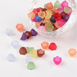Mixed Frosted Acrylic Tulip Flower Bead Caps, Lily of the Valley, 10mm wide, 6mm thick, Hole:1.5mm(X-PL543)