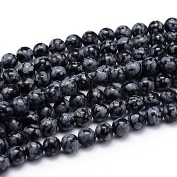 flocon de neige naturelle obsidienne rangées de perles rondes, 8 mm, trou: 1 mm; environ 47 perle / brin, 15.3(X-G-J303-09-8mm)