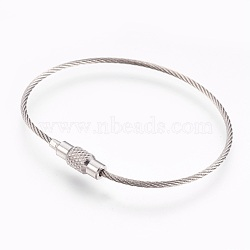 """304 fabrication de bracelets en acier inoxydable, deux boucles, avec des agrafes, couleur inoxydable, 6-1/8"""" (15.5 cm), 1.5mm(BJEW-I267-004A)"""