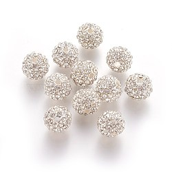 Alloy Rhinestone Beads, Grade A, Round, Silver Color Plated, Crystal, 10mm, Hole: 2mm(RB-A034-10mm-A01S)