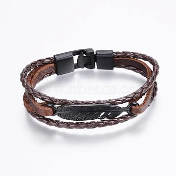 Leather Cord Multi-strand Bracelets, with Alloy Finding, CoconutBrown, 8-1/4inches(210mm); 11x4mm(BJEW-P169-C01)