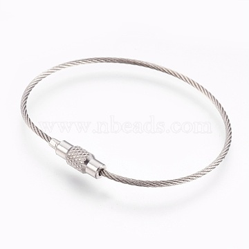 304 Stainless Steel Wrap Bracelets Making, Two Loops, with Clasps, Stainless Steel Color, 6-1/8 inches(15.5cm), 1.5mm(BJEW-I267-004A)