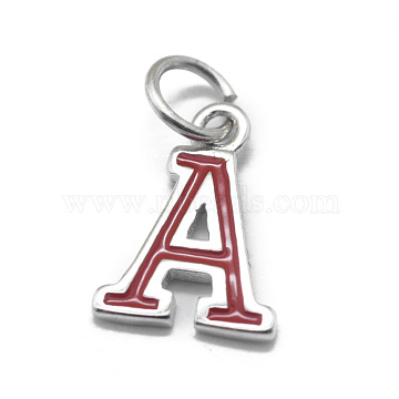 925 Sterling Silver Charms, with Enamel, Letter, Platinum, Brown, Letter.A, 10x7x0.8mm, Hole: 3mm(STER-E064-03A-P)