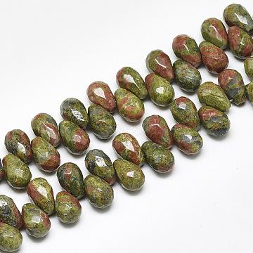 12mm Teardrop Unakite Beads