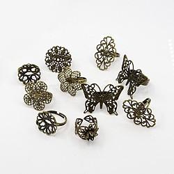 laiton réglable composants d'anneau en filigrane, mixedstyle, bronze antique, 17~18 mm(X-KK-G233-M04)