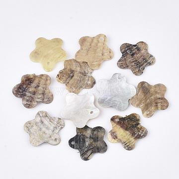 Natural Akoya Shell Pendants, Mother of Pearl Shell Pendants, Flower, Tan, 19x19~20x2~3mm, Hole: 1.2mm(SHEL-T012-39)