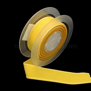 Polyester Grosgrain Ribbon, Gold, 3/8inch(9mm); about 100yards/roll(91.44m/roll)(OCOR-Q015-9mm-37)