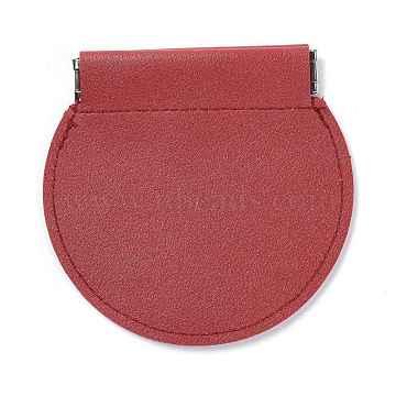 Imitation Leather Change Purse, Half Round Shape, FireBrick, 10.3x10.8x1cm(ABAG-H105-A01)