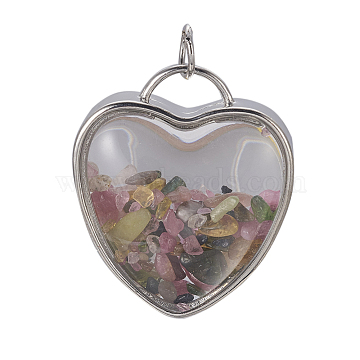 Platinum Heart Tourmaline Pendants