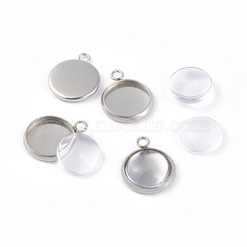 DIY Pendant Making, 304 Stainless Steel Pendant Cabochon Settings and Glass Cabochons, Flat Round, Clear, Stainless Steel Color, Tray: 10mm, 15x12x2mm, Hole: 2mm(DIY-X0098-04P)