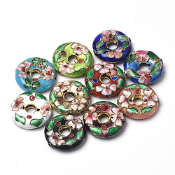 Perles en cloisonné Manuelles, plat rond, couleur mixte, 20x5.5mm, Trou: 1mm(CLB-S006-17)